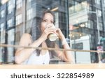beautiful girl enjoying an hot... | Shutterstock . vector #322854989