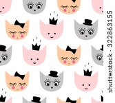 seamless pattern with funny... | Shutterstock .eps vector #322863155