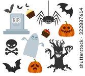 halloween set   style flat  on... | Shutterstock .eps vector #322887614