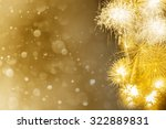 Yellow Fireworks With Abstract...