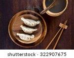 top view fresh dumplings with... | Shutterstock . vector #322907675