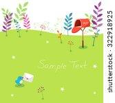 a little bird and mailbox | Shutterstock .eps vector #322918925