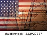 Us Flag Merged With Electric...