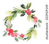 christmas wreath watercolor.... | Shutterstock . vector #322929149