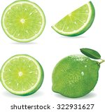 collection fresh lime and slice ... | Shutterstock .eps vector #322931627