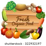 many vegetables and sign... | Shutterstock .eps vector #322932197