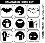halloween icon set. symbols on... | Shutterstock .eps vector #322932854