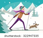Skier With Dog In Forest....