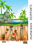 boys and girls climbing... | Shutterstock .eps vector #322951871