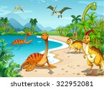 dinosaurs living on the beach... | Shutterstock .eps vector #322952081