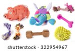 Stock photo dog toys in front of white background 322954967