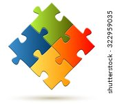 puzzle with four colored parts... | Shutterstock .eps vector #322959035