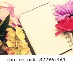note book diary and beautiful... | Shutterstock . vector #322965461