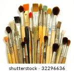 different paint brushes - stock photo