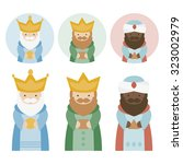 the three kings of orient on a... | Shutterstock .eps vector #323002979