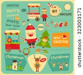christmas characters on... | Shutterstock .eps vector #323003171