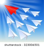 paper planes follow their... | Shutterstock .eps vector #323006501