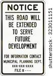 road extension notice by the... | Shutterstock . vector #323011151