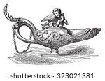 bronze lamp of the naples... | Shutterstock .eps vector #323021381