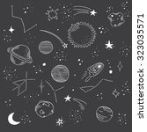 hand drawn space doodle pattern.... | Shutterstock .eps vector #323035571