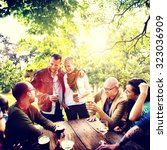 friend celebrate party picnic... | Shutterstock . vector #323036909