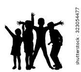 vector silhouette of children... | Shutterstock .eps vector #323054477