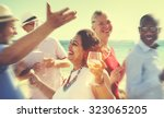 diverse people friends hanging...   Shutterstock . vector #323065205