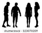vector silhouette of people on... | Shutterstock .eps vector #323070209