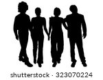 vector silhouette of people on... | Shutterstock .eps vector #323070224