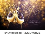 new year fireworks and... | Shutterstock .eps vector #323070821