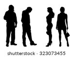 vector silhouette of people on... | Shutterstock .eps vector #323073455