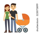cute cartoon young couple with...   Shutterstock . vector #323073899