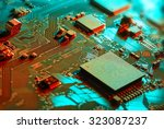 electronic circuit board close... | Shutterstock . vector #323087237