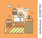 gifts outline icons set for...