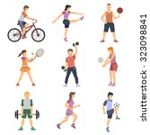 sport people flat icons set... | Shutterstock . vector #323098841
