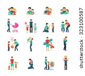 fatherhood flat icons set with...   Shutterstock . vector #323100587