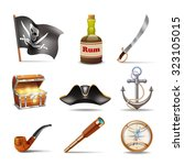 pirate icons set colorful with... | Shutterstock . vector #323105015