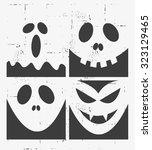 halloween masks set design | Shutterstock .eps vector #323129465