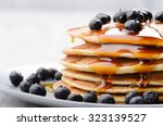 delicious pancakes close up ... | Shutterstock . vector #323139527