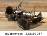 old silverware on the wooden... | Shutterstock . vector #323153057