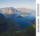 beautiful norwegian landscape... | Shutterstock . vector #323155319