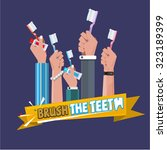 various hand with toothbrush.... | Shutterstock .eps vector #323189399