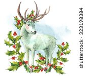 watercolor greeting card  snow... | Shutterstock . vector #323198384