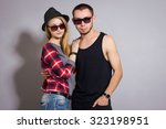 fashion  portrait of beautiful...   Shutterstock . vector #323198951