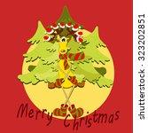 Cartoon Reindeer In Santa Hat...