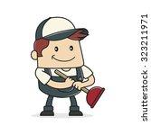 plumber holding plunger | Shutterstock .eps vector #323211971