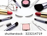 cosmetic frame with eye lash on ... | Shutterstock . vector #323214719