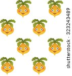 yellow funny turnip pattern... | Shutterstock .eps vector #323243489