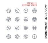 cogwheel outline icons   Shutterstock .eps vector #323270099
