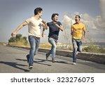 Happy Guys Running